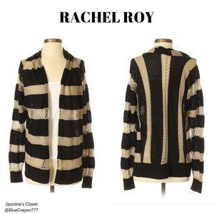 RACHEL ROY STRIPED CROCHET CARDIGAN NWOT